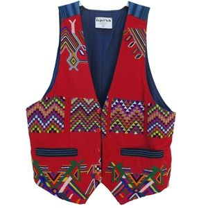 Hand Woven Red Cotton Vest Embroidery Guatemala M